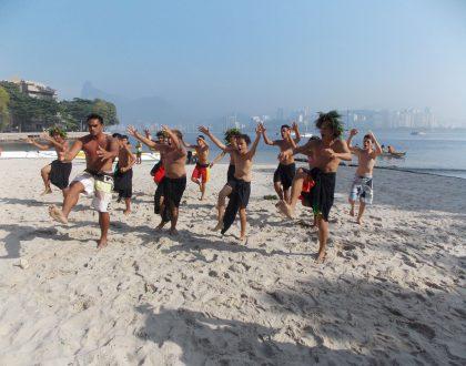 Danças tradicionais da Polinésia francesa na abertura do CINEfoot Tour no Rio nesta segunda